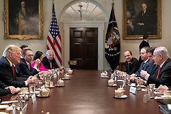 March 25, 2019 - Washington, District of Columbia, U.S. - President DONALD TRUMP, joined by Vice President Mike Pence, participate in an expanded bilateral meeting with Israeli Prime Minister Benjamin Netanyahu Monday, March 25, 2019, in the Cabinet Room of the White House. (Credit Image: ? White House/ZUMA Wire/ZUMAPRESS.com)
