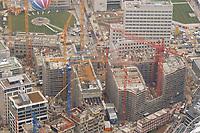 07 NOV 2002, BERLIN/GERMANY:<br /> Luftaufnahme, Bauarbeiten Lenne-Dreieck mit Beisheim Center, naehe Potsdamer Platz<br /> IMAGE: 20021107-02-004<br /> KEYWORDS: Neubau, Bau, Lenné-Dreieck, Kran, Kraene, Kräne, Baukran, Baukraene, Baukräne, Buero, Büro, Neubau