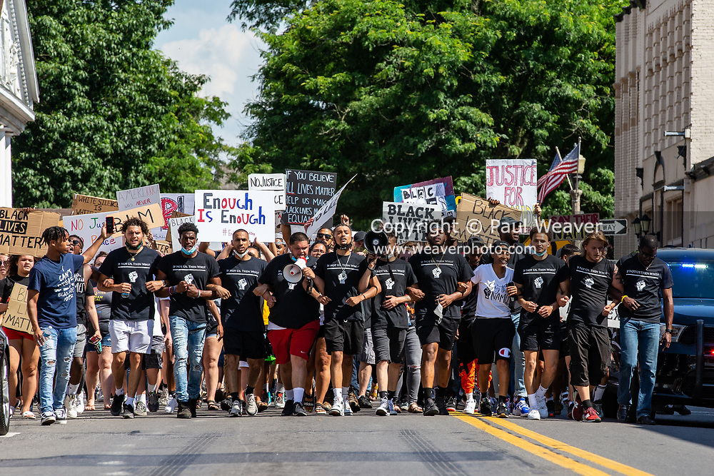 """Watsontown, PA (June 28, 2020) -- About 200 Black Lives Matter protesters in Watsontown were confronted by nearly 50 counter-protesters.  Local activist group """"If Not Us, Then Who?"""" organized the event."""