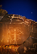 A native american petroglyph photographed at night by moonlight and flashlight. Hart Mountain National Wildlife Refuge, Oregon.