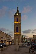 Ottoman Clock Tower in Jaffa at dusk