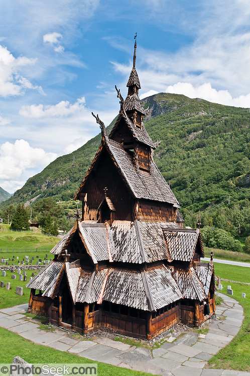 """The 12th-century Borgund Stave Church (stavkirke or stavkyrkje) is the best preserved of Norway's 28 remaining stave churches. """"Staves"""" are upright logs that support the central room framework. Borgund is a triple nave stave church of the Sogn-type. Location: Borgund, Lærdal municipality, Sogn og Fjordane county, Norway"""