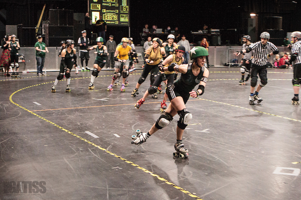 """Manchester Roller Derby's """"Checkerbroads"""" take on Newcastle Roller Girls' """"Canny Belters"""" in the UKRDA Northern Tier 2 British Championships at Manchester Academy, 2015-02-01"""