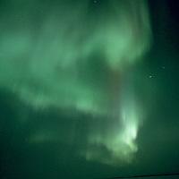 NORTHWEST TERRITORIES, CANADA. Aurora Borealis over frozen Great Slave Lake.