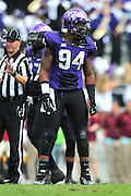 FORT WORTH, TX - SEPTEMBER 13:  Josh Carraway #94 of the TCU Horned Frogs looks on against the Minnesota Golden Gophers on September 13, 2014 at Amon G. Carter Stadium in Fort Worth, Texas.  (Photo by Cooper Neill/Getty Images) *** Local Caption *** Josh Carraway