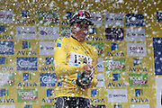 Edvald Boasson Hagen celebrates with champagne after winning the Aviva Tour of Britain, Regent Street, London, United Kingdom on 13 September 2015. Photo by Ellie Hoad.