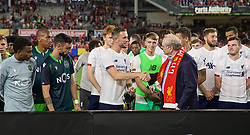NEW YORK, NEW YORK, USA - Wednesday, July 24, 2019: Liverpool's captain Jordan Henderson is presented with the Western Union Cup after a friendly match between Liverpool FC and Sporting Clube de Portugal at the Yankee Stadium on day nine of the club's pre-season tour of America. The game ended in a 2-2 draw and both teams shared the trophy. (Pic by David Rawcliffe/Propaganda)