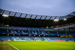 """A General View inside the stadium with """"Blue Moon"""" spelt out on the seats - Photo mandatory by-line: Rogan Thomson/JMP - Tel: 07966 386802 - 18/02/2014 - SPORT - FOOTBALL - Etihad Stadium, Manchester - Manchester City v Barcelona - UEFA Champions League, Round of 16, First leg."""