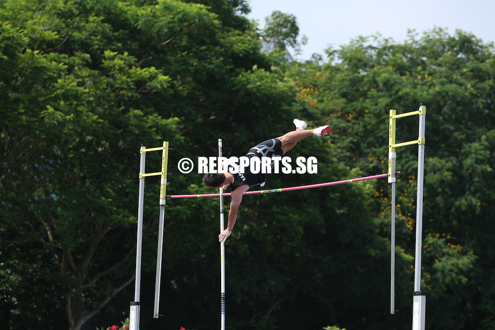 Choa Chu Kang Stadium, Friday, April 5, 2013 — Chan Sheng Yao of Hwa Chong Institution wrote himself into the record books when he cleared 4.82 metres in the A Division Pole Vault at the 54th National Schools Track and Field Championships this afternoon.<br /> <br /> Story: http://www.redsports.sg/2013/04/05/a-div-pole-vault-chan-sheng-yao-national-record-4-82m/