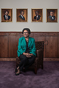Dr. Ruth Simmons, the president of Prairie View A&M University, poses for a portrait in the President's Dining Room Tuesday June 12, 2018. Above her are portaits of past presidents of the university and Dr. Simmons is the first woman to hold the title at PVAMU.