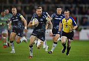 Sale Sharks wing Byron McGuigan breaks through the Newcastle Falcons defence during the The Aviva Premiership Round 2 match Sale Sharks -V- Newcastle Falcons at The AJ Bell Stadium, Salford, Greater Manchester, England on Friday, September 8, 2017. (Steve Flynn/Image of Sport)