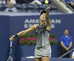 September 6, 2017 - New York, New York, United States - Madison Keys of USA serves during match against Kaia Kanepi of Estonia at US Open Championships at Billie Jean King National Tennis Center  (Credit Image: © Lev Radin/Pacific Press via ZUMA Wire)