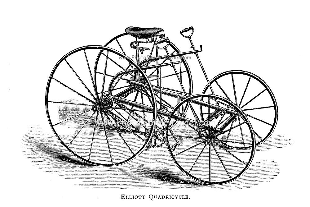 Elliott Quadricycle [four wheeled foot powered cycle] From Wheels and Wheeling; An indispensable handbook for cyclists, with over two hundred illustrations by Porter, Luther Henry. Published in Boston in 1892