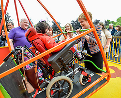 Pictured: Nicola Sturgeon meets 12 year old Collette Duffy.<br /> <br /> First Minister Nicola Sturgeon opened Scotland's largest 'inclusive' play park at Pittencrief Park in Dunfermline.<br /> <br /> © Dave Johnston/ EEm