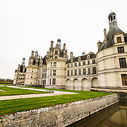 A wide-angle shot of the exterior of the Chateau de Chambord in the Loire Valley in France. Dating to the 16th century, the chateau was where collections from the Louvre were relocated to in 1939 with the outbreak of war.
