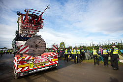 © Licensed to London News Pictures. 10/10/2017. Kirby Misperton UK. The drilling rig has arrived at the Kirby Misperton KM8 fracking site this morning despite 22 days of protests & daily attempts to block access to the Kirby Misperton fracking site by anti fracking campaigners. Third Energy was granted planning permission last year to frack the site but has not yet received final consent to begin fracking, but expects to start before the end of the year. Photo credit: Andrew McCaren/LNP