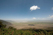 View of Ngorongoro crater take from the rim<br /> Ngorongoro Crater<br /> landscape<br /> Africa<br /> scenery<br /> volcano<br /> extinct<br /> cloud