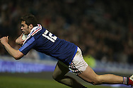Damian Penaud goes over the line but try is disallowed during the 2015 Under 20s 6 Nations match between England and France at the American Express Community Stadium, Brighton and Hove, England on 20 March 2015.