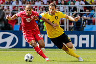 Wahbi Khazri of Tunisia and Jan Vertonghen of Belgium during the 2018 FIFA World Cup Russia, Group G football match between Belgium and Tunisia on June 23, 2018 at Spartak Stadium in Moscow, Russia - Photo Thiago Bernardes / FramePhoto / ProSportsImages / DPPI