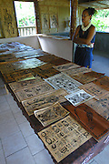 Tapa cloth, Omoa village, Fatu Hiva, Marquesas, French Polynesia, (Editorial use only, no model release)<br />