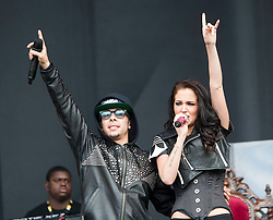 """Dino """"Dappy"""" Contostavlos and Tula """"Tulisa"""" Contostavlos of N-Dubz play the main stage..T in the Park on Saturday 9th July 2011. T in the Park 2011 music festival takes place from 7-10th July 2011 in Balado, Fife, Scotland..©Pic : Michael Schofield."""