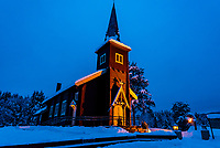 The Plassen Church (Kirke) along the Trysil River. Built in Dragon Style. The original church was built here in 1879, but burnt to the ground in 1904. The current church was consecrated here in 1907. Trysil, Hedmark County, Norway.