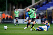 Peterborough United sliding tackle on Scott Wagstaff of AFC Wimbledon during the EFL Sky Bet League 1 match between Peterborough United and AFC Wimbledon at London Road, Peterborough, England on 28 September 2019.