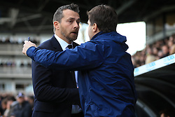 19 February 2017 - The FA Cup - (5th Round) - Fulham v Tottenham Hotspur - Slavisa Jokanovic manager of Fulham greets Tottenham Hotspur Manager Mauricio Pochettino - Photo: Marc Atkins / Offside.