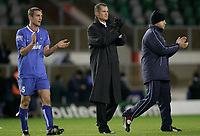 Photo: Marc Atkins.<br /> Milton Keynes Dons v Farsley Celtic. The FA Cup. 21/11/2006. Lee Sinnott, Farsley Celtic Manager applauds the supports at the end of the game.
