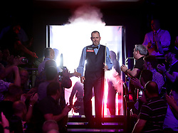 Mark Williams enters The Crucible for the final evening on day seventeen of the 2018 Betfred World Championship at The Crucible, Sheffield.