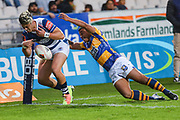 Auckland player AJ Lam fumbles the ball on the line against Bay of Plenty during the Mitre 10 Cup match played at Rotorua International Stadium in Rotorua on Friday 2nd October 2020.<br /> Copyright photo: Alan Gibson / www.photosport.nz