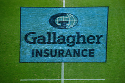 Gallagher Insurance branding on the pitch prior to kick off - Mandatory by-line: Ryan Hiscott/JMP - 10/10/2020 - RUGBY - Sandy Park - Exeter, England - Exeter Chiefs v Bath Rugby - Gallagher Premiership Rugby Semi-Final