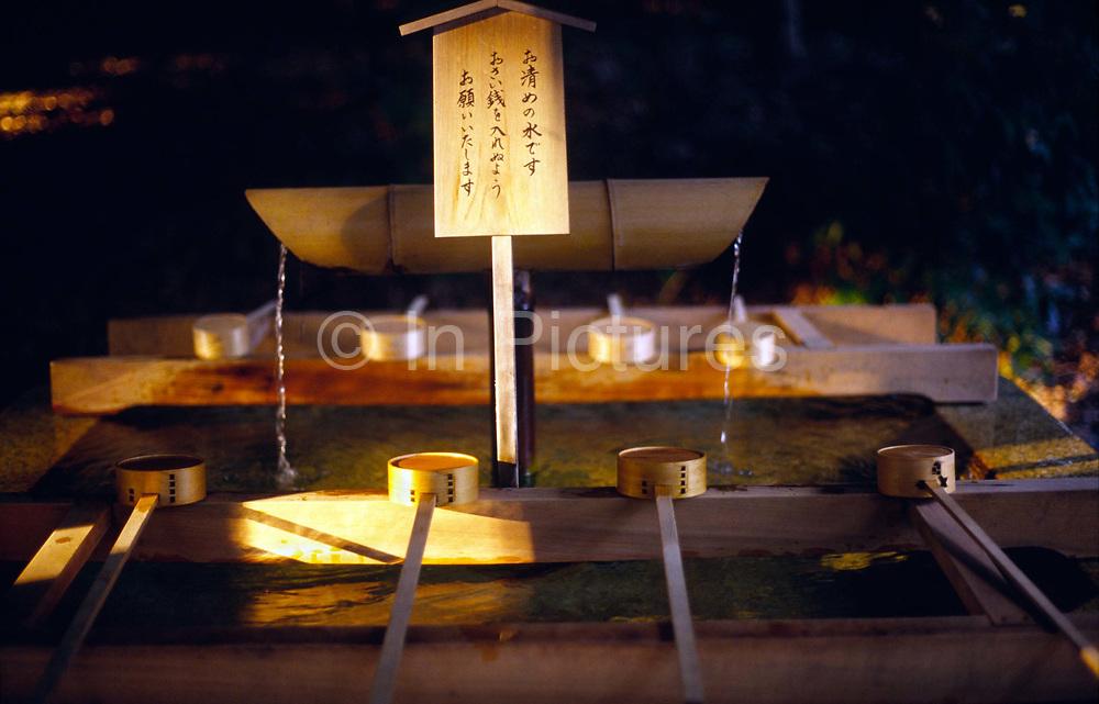 Ritual implements at the Meiji Jinja shrine, Tokyo, Japan