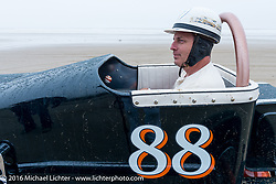Joe Conforth in his 1940's Lakester stages at the start of TROG West - The Race of Gentlemen. Pismo Beach, CA, USA. Saturday October 15, 2016. Photography ©2016 Michael Lichter.