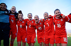 ZENICA, BOSNIA AND HERZEGOVINA - Tuesday, November 28, 2017: Wales players celebrate the 1-0 victory over Bosnia and Herzegovina during the FIFA Women's World Cup 2019 Qualifying Round Group 1 match between Bosnia and Herzegovina and Wales at the FF BH Football Training Centre. Captain Sophie Ingle, Angharad James, Loren Dykes, Jessica Fishlock, Natasha Harding, Alice Griffiths. (Pic by David Rawcliffe/Propaganda)