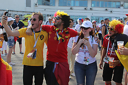 June 18, 2018 - Sochi, Russia - June 18, 2018, Russia, Sochi, FIFA World Cup 2018, First round, Group G, First round, Belgium vs Panama at Fisch Stadium. Belgium - Panama. Player of the national team Fans; fans; viewers; (Credit Image: © Russian Look via ZUMA Wire)