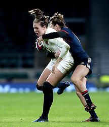 Emily Scarratt of England is tackled - Mandatory by-line: Robbie Stephenson/JMP - 04/02/2017 - RUGBY - Twickenham - London, England - England v France - Women's Six Nations