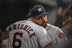 May 1, 2018 - Houston, TX, U.S. - HOUSTON, TX - MAY 01: Houston Astros outfielder Jake Marisnick (6) and Houston Astros outfielder Marwin Gonzalez (9) wish each other luck before the baseball game between the New York Yankees and Houston Astros on May 1, 2018 at Minute Maid Park in Houston, Texas (Photo by Ken Murray/Icon Sportswire) (Credit Image: © Ken Murray/Icon SMI via ZUMA Press)