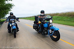 John Bartman (R) and Bill Page riding in the Cross Country Chase motorcycle endurance run from Sault Sainte Marie, MI to Key West, FL (for vintage bikes from 1930-1948). Stage 3 from Milwaukee, WI to Urbana, IL. USA. Sunday, September 8, 2019. Photography ©2019 Michael Lichter.