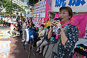 Ruiko Muto from Fukushima speaking at the Women's Protest outside METI (Ministry of Economy, Trade and Industry) in Tokyo, Japan. Friday June 29th 2012. About 400 protesters campaigned the restarting of the Oi nuclear power-station and the policy of Prime-Minister Noda to restart Japan's nuclear power generation programme which has been stalled since the earthquake and tsunami of March 11th 2011 caused meltdown and radiation leaks at the Fukushima Daichi Nuclear power-plant.