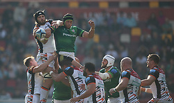 Leicester Tigers' Harry Wells (left) and London Irish's Adam Coleman contest a line out during the Gallagher Premiership match at the Brentford Community Stadium, London. Picture date: Saturday October 9, 2021.