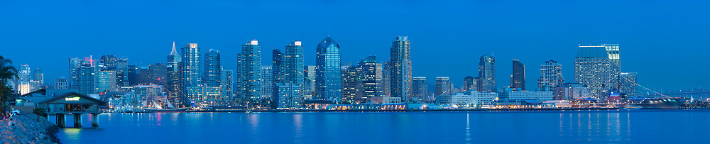 Downtown skyline, twin towers of the Manchester Grand Hyatt on the left. Coronado Ferry Dock and Hilton Hotel on the right. <br /> <br /> Panoramic available up to 17380 x 4305.