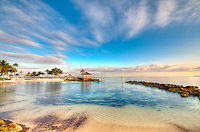 View of beach and ocean in Nassau, Bahamas.
