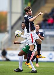 Hibernian's Dominique Malonga and Falkirk's Kieran Duffie. <br /> Falkirk 0 v 3 Hibernian, Scottish Championship game played at The Falkirk Stadium 2/5/2015.