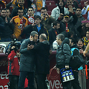 Galatasaray's coach Fatih Terim (C) and Manisaspor's coach Kemal Ozdes (L) during their Turkish Super League soccer match Galatasaray between Manisaspor at the TT Arena at Seyrantepe in Istanbul Turkey on Wednesday, 21 December 2011. Photo by TURKPIX