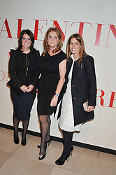 Left to right, PRINCESS EUGENIE OF YORK, SARAH, DUCHESS OF YORK and PRINCESS BEATRICE OF YORK at a private view of 'Valentino: Master Of Couture' at Somerset House, London on 28th November 2012.