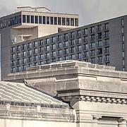 Westin Crown Center Hotel in Kansas City, Missouri. Part of Union Station in foreground.