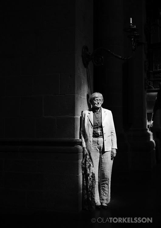 Archbishop of Uppsala, Antje Jackelén portrayed in Lunds Cathedral. Lund 2014.<br /> Photo by Ola Torkelsson<br /> Copyright Ola Torkelsson ©