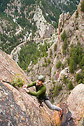 Nathan Kurz climbs the second pitch of Icarus (5.6) on Redgarden Wall, Eldorado Canyon State Park, Colorado.