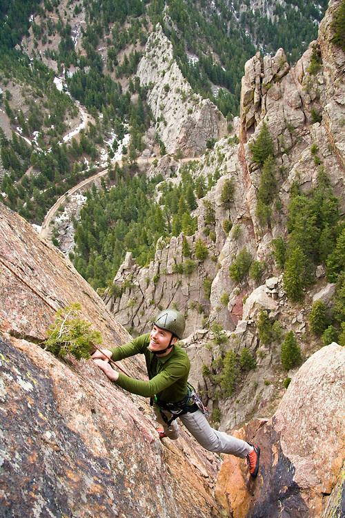 Nathan Kurz climbs the second pitch of Icarus (5.6) on Redgarden Wall, Eldorado Canyon State Park, Colorado.
